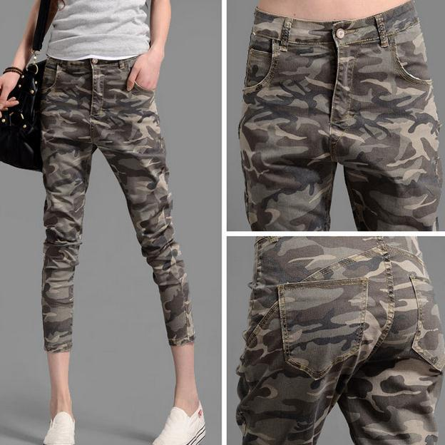 3cec5ec4103 womens loose trousers Camouflage Green Skinny harem pants woman capris plus  size