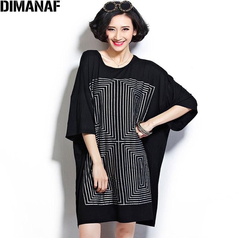 DIMANAF Plus Size Batwing Sleeve T-Shirt 2018 Summer Women Cotton Striped Oversize Fashion Casual Elegant Loose Black T-Shirt