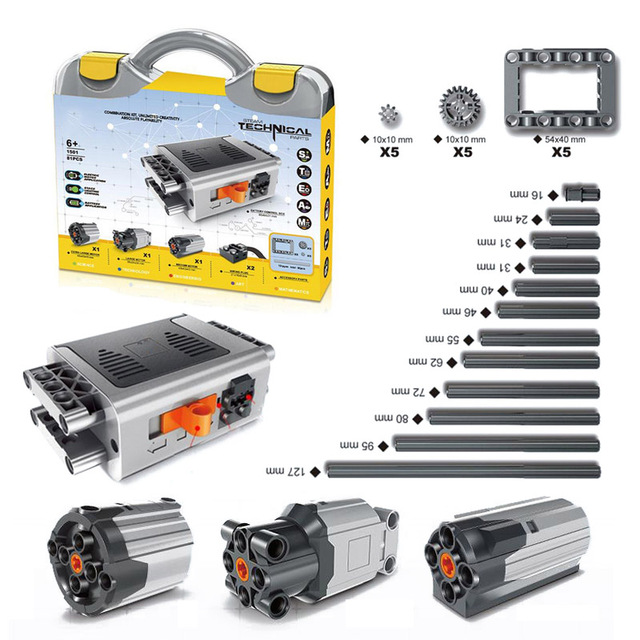 81 pçs/set encaixotado técnica pf elétrico peças xl médio grande extensão do motor cabo de direção com l * vai alex feixe quadro engrenagem 64179