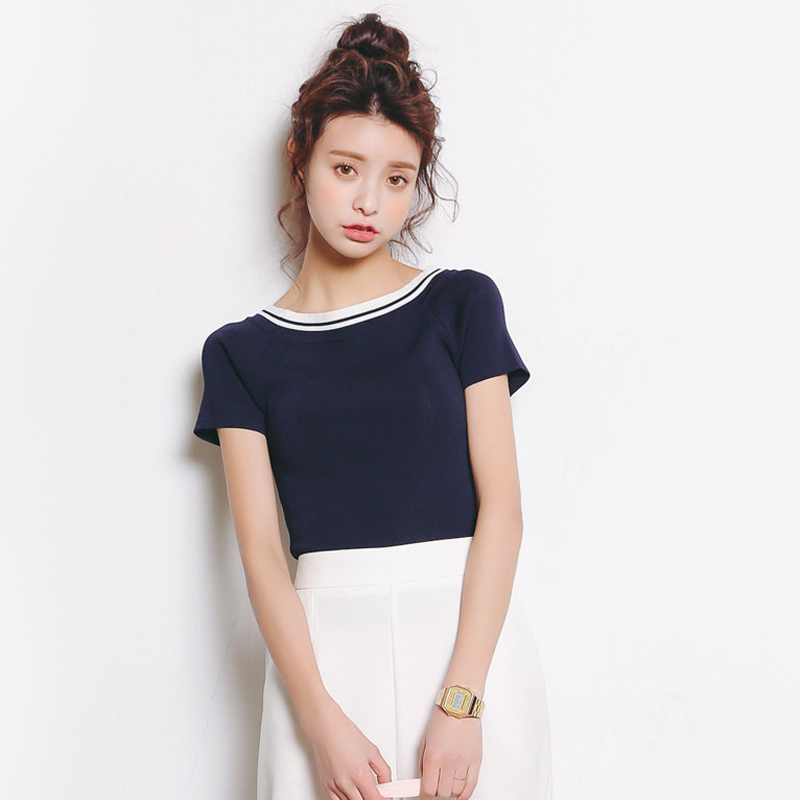 summer Striped Sweater women slim short sleeve O-neck short design top young girl black white and blue casual Sweaters L98