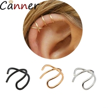CANNER 1PC Ear Cuff Earrings For Women Clip No Piercing Gold Circle Stud Clips Jewelry Body Accessories F4