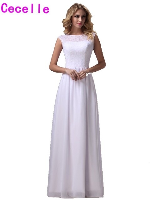 White Long Bridesmaids Dresses Floor Length Lace Top Chiffon Skirt ...