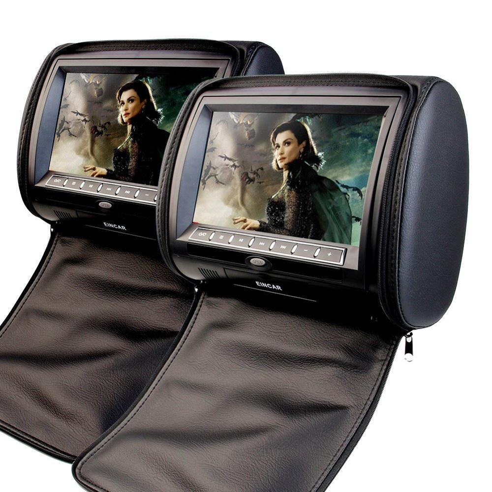 2x9 Inch Digital display Screen Headrests car pillow CD DVD Player Monitor Support USB/SD/IR/FM Transmitter with Video Game disc eincar car 9 inch car dvd pillow headrest two monitor lcd screen usb sd 32 bit game fm ir multimedia player free 2 ir headphones