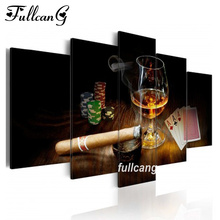 FULLCANG Full Square Diamond Embroidery Cigar Champagne Diy 5pcs Painting Cross Stitch Mosaic 5d Needlework D491