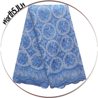 Cut Work Embroidery African Fabric Lace High Quality French Tulle Blue Lace Fabric White Latest Swiss Lace 2018 For Dresses