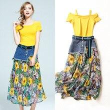 Top quality women summer 2 piece suits 2017 new off shoulder slash neck t-shirt jean patchwork print chiffon mid-calf skirts