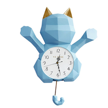 Simple Nordic Lucky Cat Swing Wall Clock Watches Home Decor Digital Creativity Modern Design Room 50Q113
