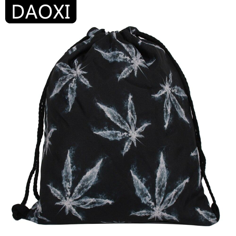 DAOXI Black Drawstring Bags 3D Printed Maple Leaf Fashion Backpacks for Men YY10163 drawstring bags