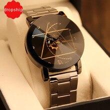 Роскошные модные женские часы из розового золота Для женщин часы элегантный минимализм со стразами Повседневное черные женские Водонепроницаемый часы