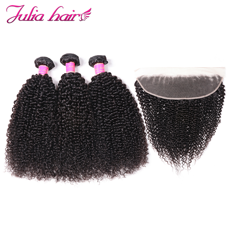Ali Julia Hair Afro Kinky Curly Hair Bundles With Frontal Soft 13* 4 Swill Lace Brazilian Remy Human Hair-in 3/4 Bundles with Closure from Hair Extensions & Wigs    1
