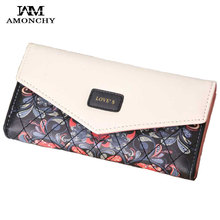 AMONCHY Creative Envelope Wallet Fashion Flower Prints Women Wallets Long Plaid Ladies Purses Panelled High Quality Clutch 2019
