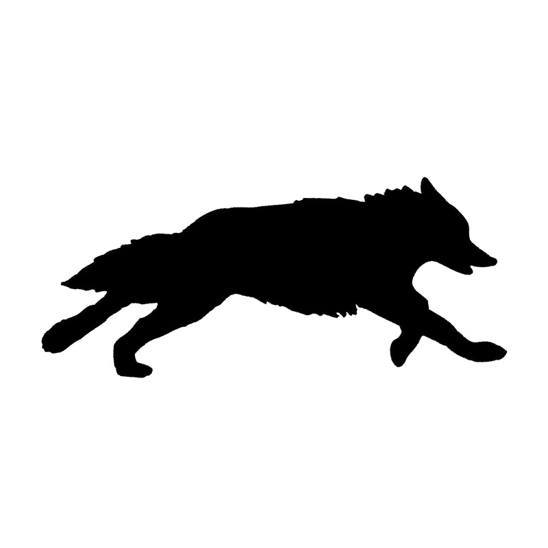 18.5*7.8CM Running Wolf Silhouette Car Styling Decal Cool Creative Vinyl Car Sticker Black/Silver S1-2308
