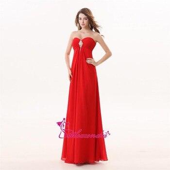 Alexzendra Chiffon A Line Long Red Bridesmaid Dresses Pleats Sweetheart Simple Bridesmaids Gown Plus Size