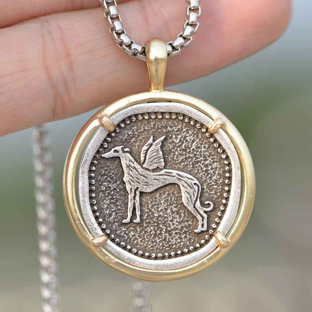 Men Greyhound Necklace Dropship Galgo Rescue Copper Metal Whippet Dog Jewelry Gold Filled Grey Hound Chain Jewelry A266