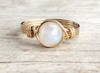 Natural Moonstone Wire Wrapped Ring Handmade 14k Gold Filled Ring Vintage Unique Bluesoul Designs For Women