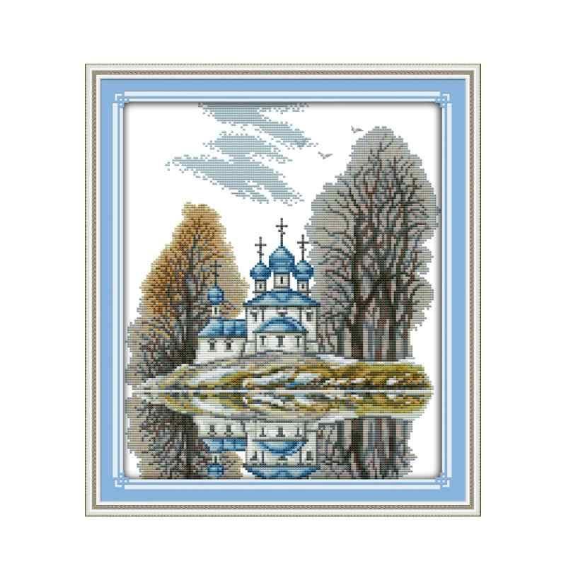Красивый пейзаж крестиком Набор diy, синий замок европейская мебель шитье ручной работы вышивка украшения настенные картины