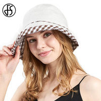 FS Summer Linen Fishing Hat Fashion Dome Plaid Bucket Hat Women Windproof Elastic Band Design Cap Breathable Outdoor