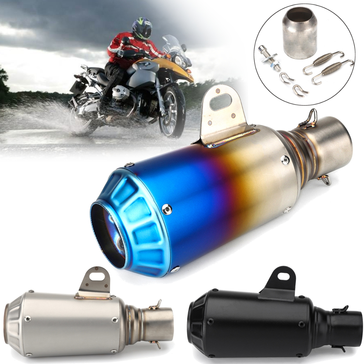 38-51mm Motorcycle Exhaust Muffler Modify Pipe Motocross Exhaust Modified Outlet System Stainless Steel Scooter for Honda