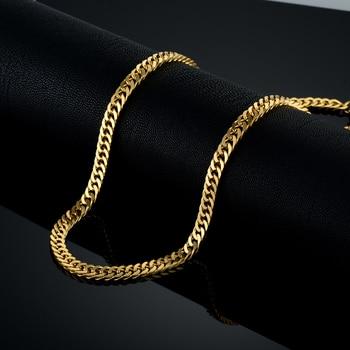 70e46a50fa3f Larga cadena de oro para hombres collar de cadena nueva de oro de moda de  acero inoxidable de Color grueso joyería Bohemia Colar hombre collares