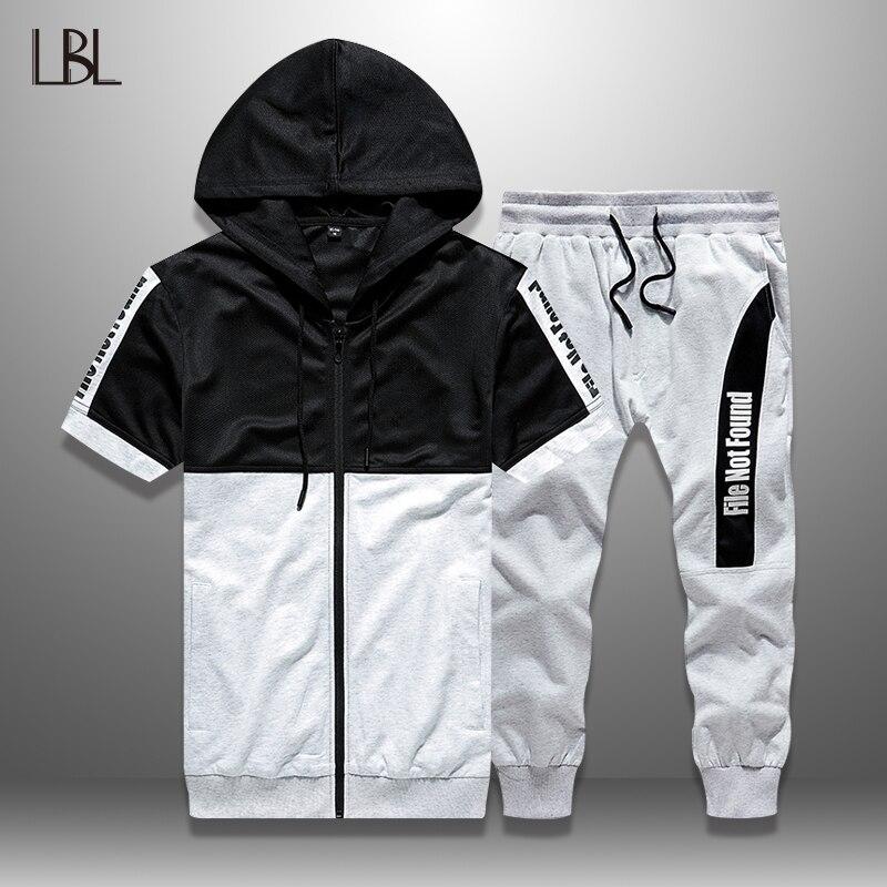 LBL Summer Set Men Casual Patchwork Tracksuit Man Bodybuilding Sports Suit Man Sportswear Zipper Hoodie + Shorts 2 Piece Sets