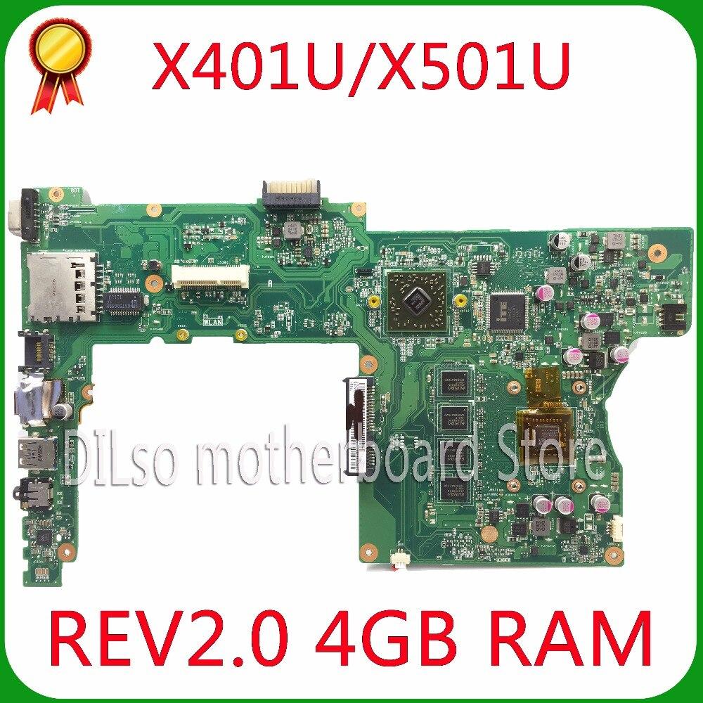 KEFU X401U-M3 For ASUS X401U X501U Laptop motherboard X401U AMD cpu onboard X401U mainboard 4G/2G RAM Test стоимость