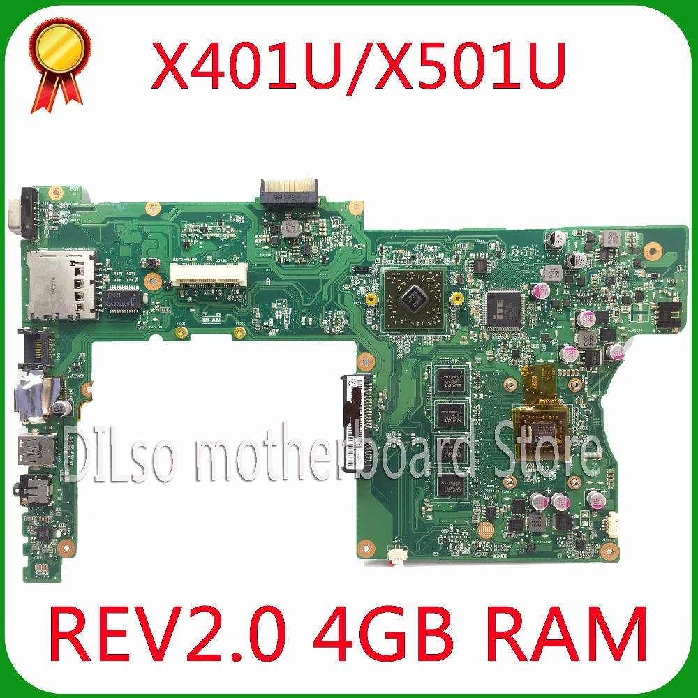 KEFU X401U-M3 For ASUS X401U X501U Laptop motherboard X401U-M3  cpu onboard  X401U mainboard 4G/2G RAM 100% tested for asus x550cc x550cl laptop motherboard x550cc mainboard rev2 0 with graphics card i3 cpu onboard freeshipping 100