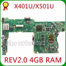 SHUOHU X401U-M3 For ASUS X401U X501U Laptop motherboard X401U-M3  cpu onboard  X401U mainboard 4G RAM 100% tested