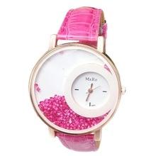 Design Fashion Lady Faux Leather Band Bracelet Round Dial Quicksand Analog Wrist Watch Gift Digital Wristwatches Clock PT
