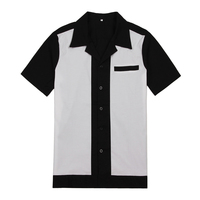 Rockabilly Work Shirts Plus Size Tops 50 S Blue Black Club Wear Clothing For Men Wholesales