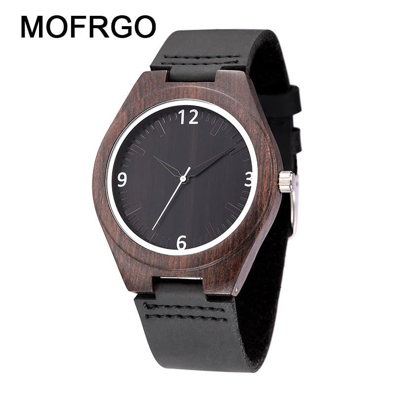 Modern Full Black Men's Ebony Wood Watch Quartz Hand-made Bamboo Hombre Wristwatch With Genuine Leather Watchband Gift For Men high quality luxury mens hand made walnut ebony quartz watches wooden watchband bracelet clasp casual fashion wristwatch gift