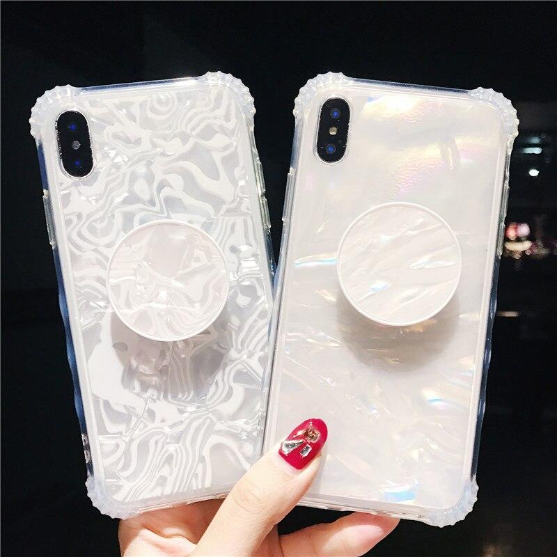 Ring air tasche Stand Bling glitter marmor fall für iphone X 6 6 s 6 plus 7 7 plus 8 8 plus Ausbau Stehen Grip fall zurück abdeckung