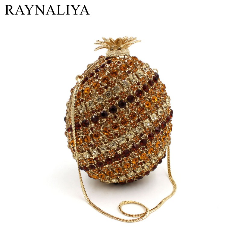 2017 Limited Sale Minaudiere Pineapple Luxury Crystal Clutch Bags Bling Rhinestone Evening Women Party Bag Handbags Smyzh-f0120 women luxury rhinestone clutch beading evening bags ladies crystal wedding purses party bag diamonds minaudiere smyzh e0193