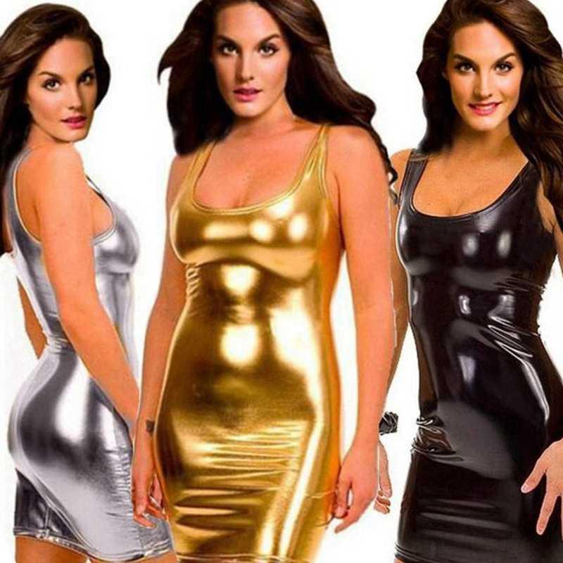 Эротическое клубное мини-платье из искусственной кожи, женское платье wetlook, Горячая сексуальная латексная Клубная одежда, ПВХ нижнее белье, блестящее платье, костюмы на шесте xxxl