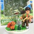 Pocket Monster Toys Brock+Geodude+Vulpix Action Figure Sets Anime Figures Vinyl Doll Kids Toys Boys Birthday Gift