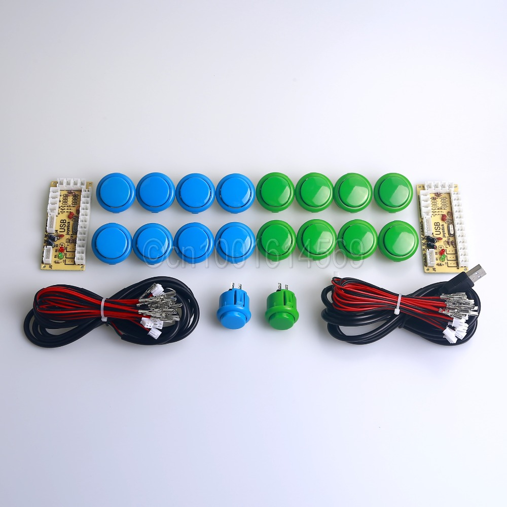 MAME USB Control Panel DIY to Joysticks USB PC Encoder + 18 x Arcade Push Buttons Video & Raspberry Pi Project Retropie 3B Game