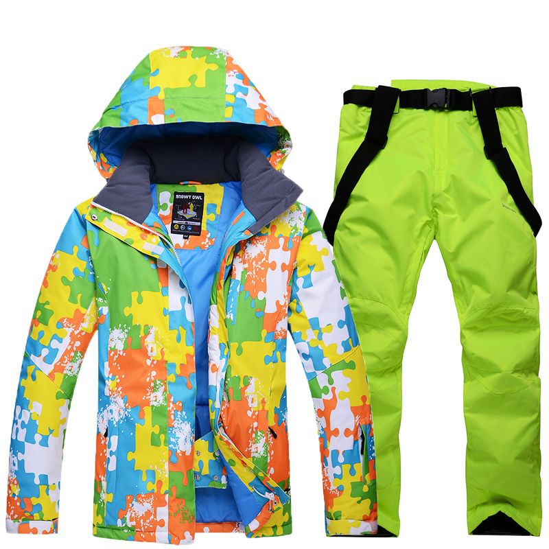 man Snow Clothing Girl snowboarding jackets Waterproof Warm thick warm winter outdoor ski suit sets jackets + pants costume 40 man snow pants professional snowboarding pants waterproof windproof breathable winter outdoor camouflage ski suit trousers