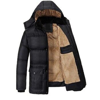 Nice Winter New Men Jacket Thickening Plus Velvet middle-aged Black Hooded Jacket Coat Overcoat Fashion