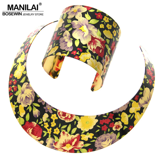 Folk Style Fashion Multicolor Painting Torques Spring Cuff Bracelet Bangles Necklace Sets Women Party Indian Statement Jewelry