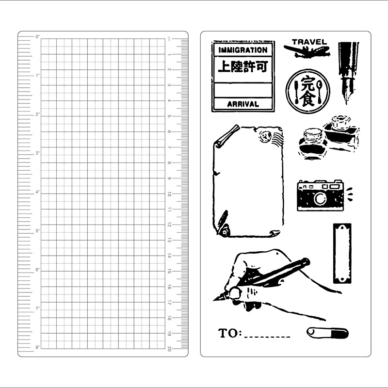 Vintage Label Theme Paper Board Ruler Note For Writing Pad Isolated Board 1 Piece Suit For TN Journal