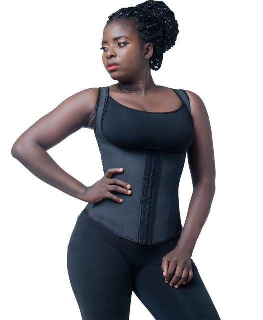 0a582f271 Firm compression latex waist trainer vest 3 hook thick strap plus size  steel boned latex shaper