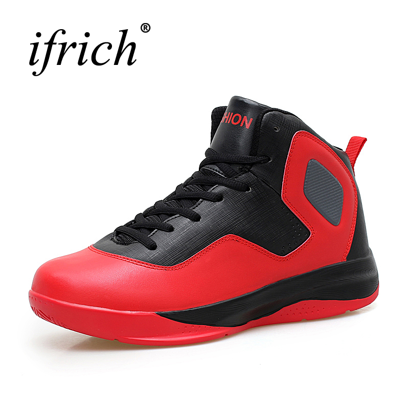2016 Big Size Basketball Sport Shoes High Top Hard-Wearing Basketball Sneakers Breathable Basketball Shoes Red Shock absorbing feozyz 2017 new women men basketball shoes high top sneakers breathable soldier basketball shoe sport basket homme size 36 45