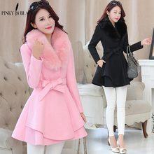 Pinky Is Black Winter Women Woolen Coat Outerwear Large Fur Collar Ruffles Female Casual Jacket Long Sweet Preppy Trench