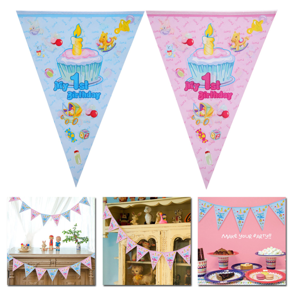 2.5M Cartoon Pennants My 1st Birthday Party Paper Flags Decoration Baby Shower Boy Girl Bunting Banner Garland Kids Favors Decor