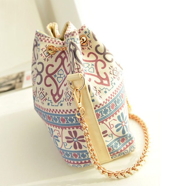 Canvas Drawstring Lady Bucket Bag 2017 New Chains Shoulder Handbags Women's Vintage Messenger Bags 1