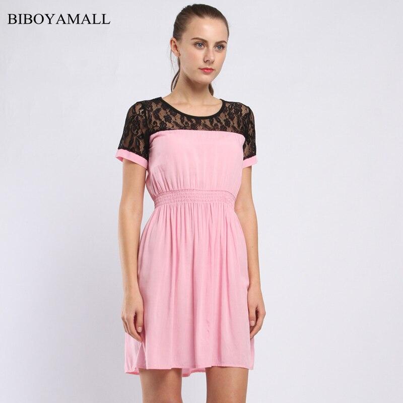 BIBOYAMALL Ženy Květinový Krajkový Šaty 2017 Výšivka Krátký rukáv Vintage Vestidos Party Neformální Mini Šaty Plus velikost 4XL / 5XL
