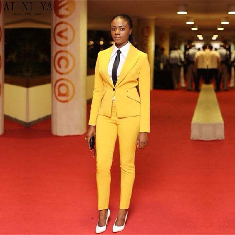 Yellow Women Business Suits Female Office Uniform Ladies Trouser