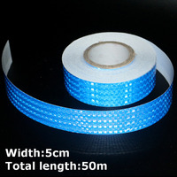 50m*5cm High Intensity Reflective Strips Stickers for Car Styling Truck Motorcycle Decoration Blue Safety Warning Adhesive Tape