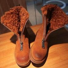 Moxxy Snow Boots Women Winter Boots Zip Rubber Flats Platform Ankle Boots Warm Plush Shoes Fur Winter Shoes Woman Botas Mujer
