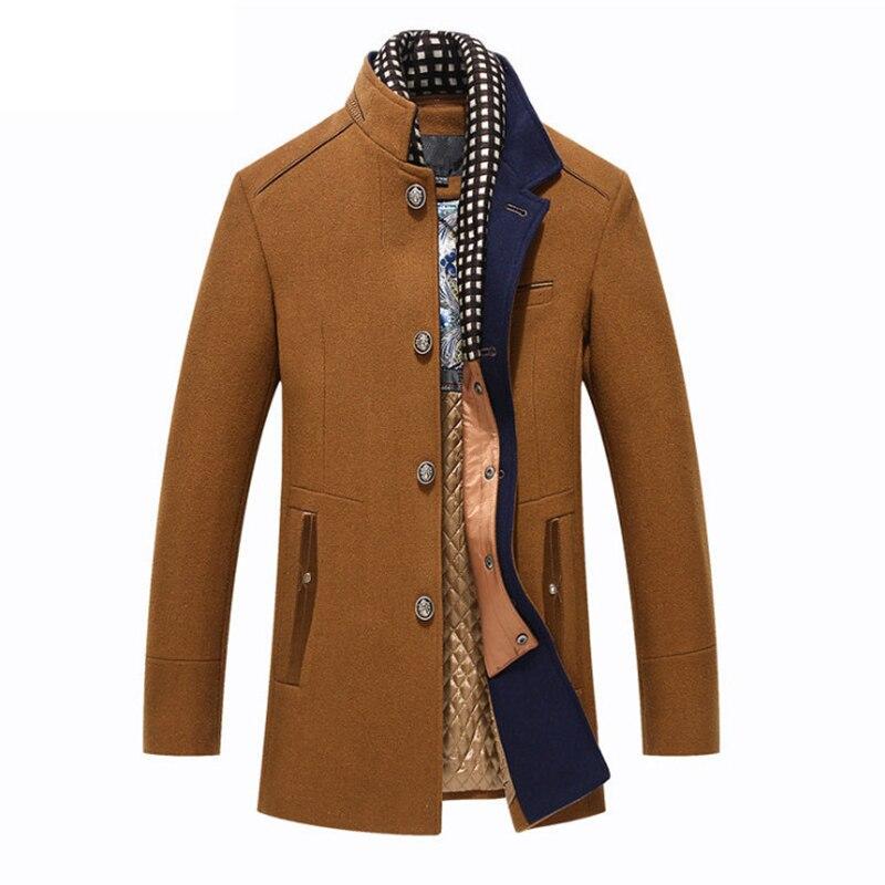 Мужское шерстяное пальто, зимнее облегающее пальто средней длины в английском стиле
