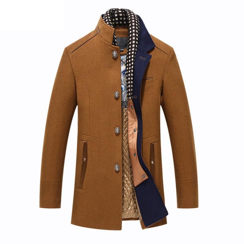 New Men's Wool Coat Winter Slim Fit England Style Woolen Coat Men Brand Clothing Fashion Mid-Long Wool Coats & Jackets
